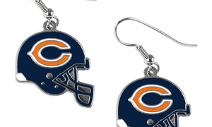 Sports Team Logo NFL Helmet Shaped J-Hook Silver Tone Earring Set Charm Gift