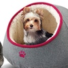 Paw-Embroidered Felt Dome Pet Bed with Sherpa Interior