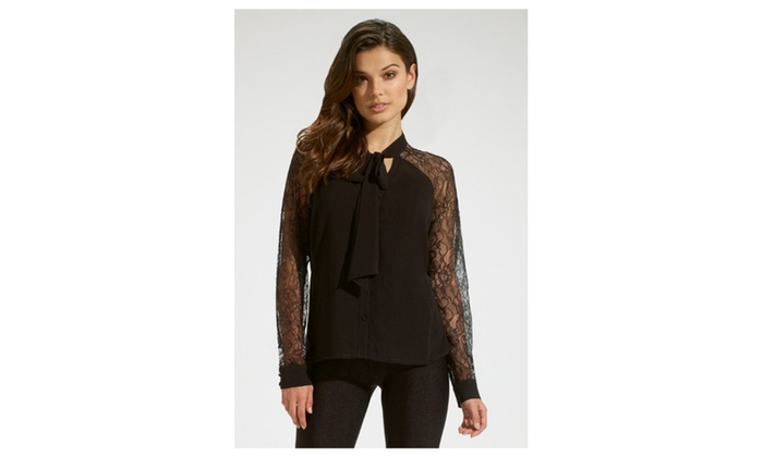 Women's Tie Neckline Lace Sleeves Chiffon Top - Black / one size