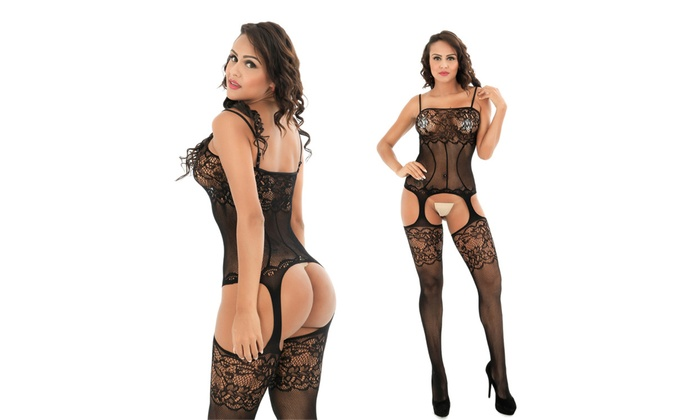 7e1631bd139 Womens Sexy Crotchless Bodystocking Lace Floral Fishnet Plus Size Lingerie