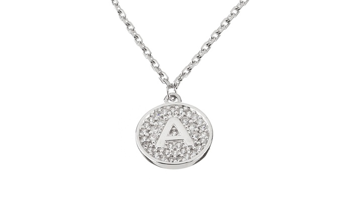 Coin disc pave cubic zirconia initial pendant necklace in sterling groupon goods coin disc pave cubic zirconia initial pendant necklace in sterling silver aloadofball Image collections