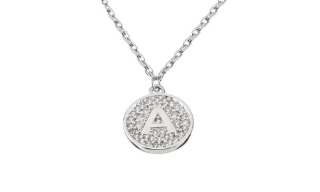 Coin Disc Pave Cubic Zirconia Initial Pendant Necklace in Sterling Silver 7c9aa32e-5c3e-4834-bd14-0ba88acbee22