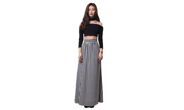Women's Black White Stripes Adult Maxi Skirt
