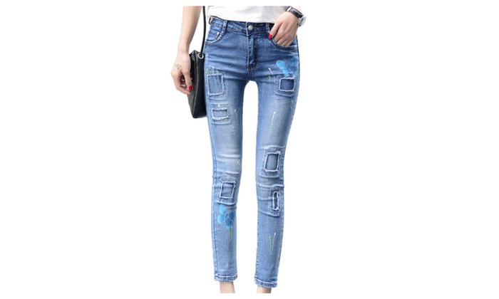 Women's Cotton Print Ripped Stretch Midrise Ankle Skinny Jeans