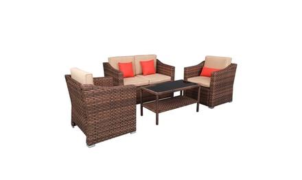 4 Piece Outdoor Patio Furniture Sets Rattan Wicker Patio Set