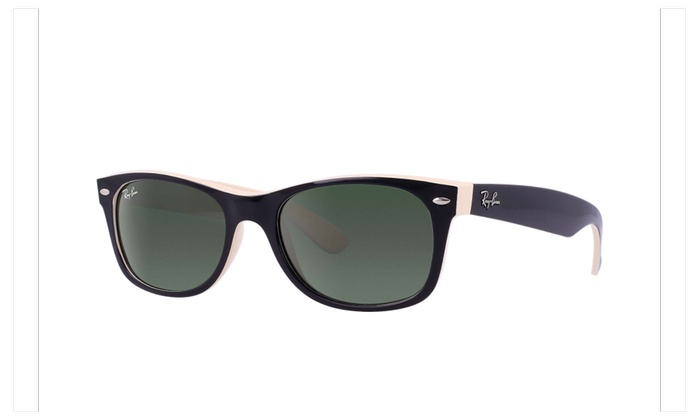 Ray-Ban RB 2132 875 new Wayfarer Black & Beige Frame/Green lens