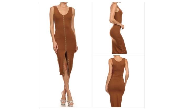 Sleeveless Midi Bodycon Front Button Dress