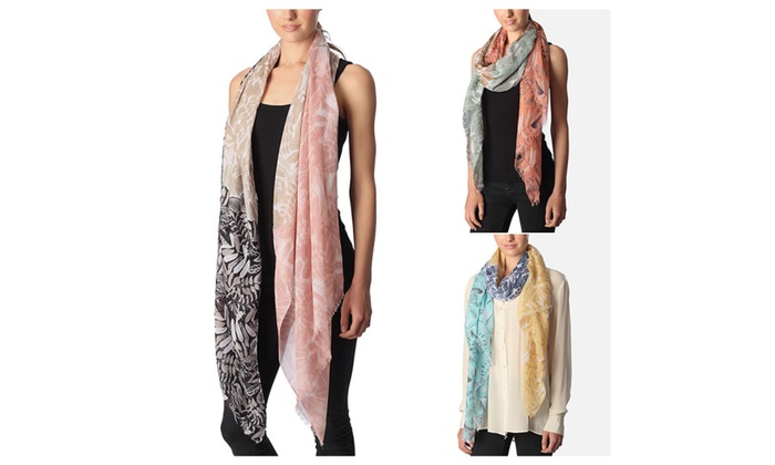 Women's Abstract Floral Print Tri-toned Color Block Scarf
