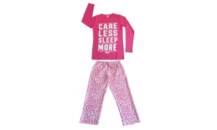 Women 2 PC Cotton Top & Fleece Lined Pants Pajamas Set (Hot Pink)