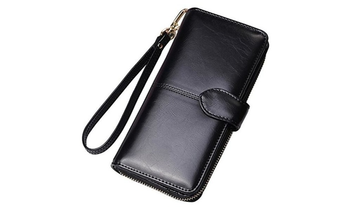 Women Leather Wallet Purse Large Capacity Bifold Checkbook