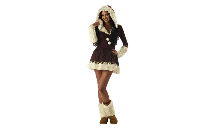 Eskimo Kisses Dress Faux-Fur Trim w/Boot Covers size S 6/8 Womens