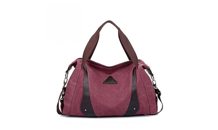 Canvas European  American Women's Crescent Commuter Hand Bag
