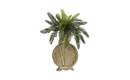 Nearly Natural Cycas with Decorative Vase Silk Plant Green b35cb694-e00d-4f07-b989-e279411d4f57