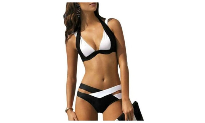 Women's Color Block Halter Bandage Bikini Sets Swimsuit