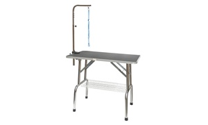 GoPetClub Heavy Duty Stainless steel Pet Grooming Table with Arm