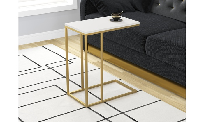 End Tablenight Tableaccent Table White With Gold Metal Base
