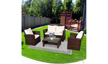 Oshion Patio Garden 4-piece Outdoor Rattan Sofa Combination Set with Cushion
