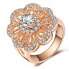 Gold Plated Imitation Crystal Flower Shape Ring