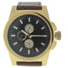 LVAG3733-18 Gold/Brown Leather Strap Watch for Men - 1 Pc