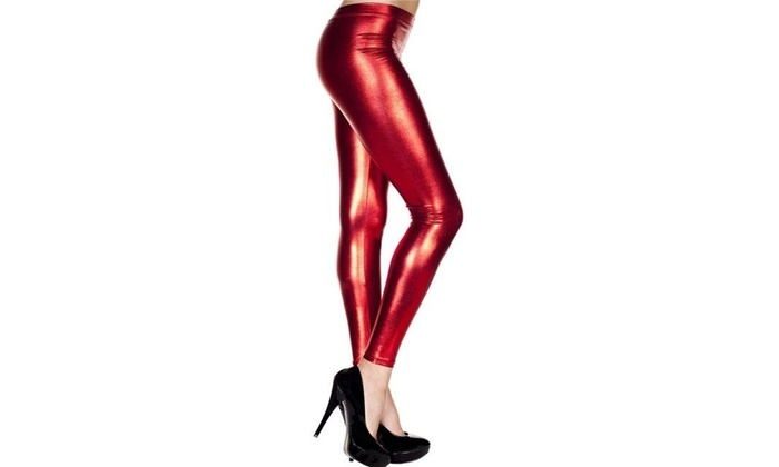 cceaf59844584 Music Legs 35110-RED Metallic Leggings Red Skinny One Size Multi-color