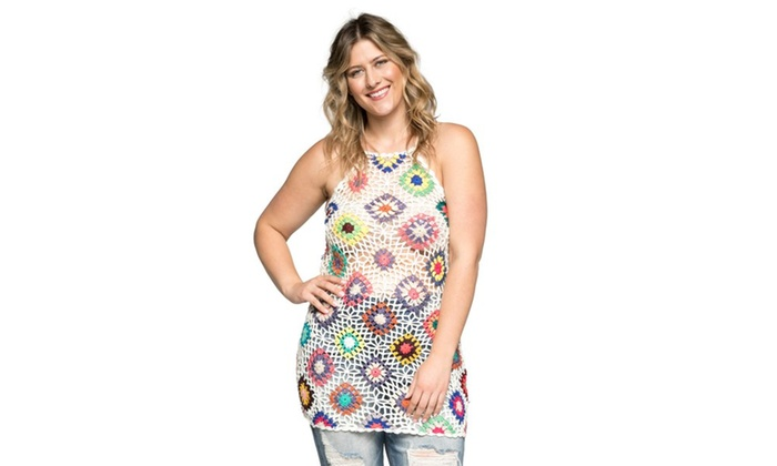 68e6c892522b Xehar Women's Plus Size Sexy Sleeveless Crochet Mini Dress | Groupon