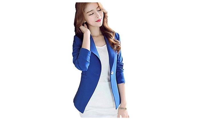 SiYuan Blue Women's Long Sleeve Solid Slim Casual Suit Jacket Blazer Coat XL – Blue / US6(tag XL)