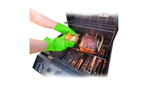 Heat Resistant Silicone Grilling Gloves (1 or 2 Pack)