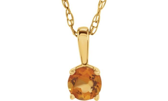 14K Yellow Gold Imitation CitrineNovember Birthstone 14 Necklace