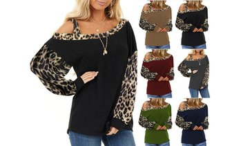 Women's Leopard Stitching Loose Shirts Off-Shoulder Long-Sleeved Blouses Tops