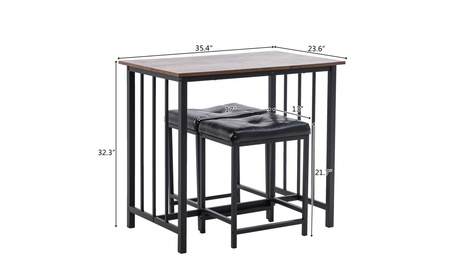 3-Piece Counter Height Dining Table Set for Kitchen, Bar Table with 2 Stools