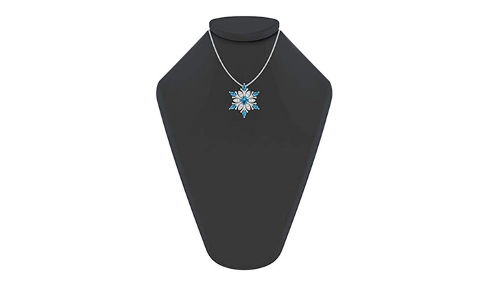 a87b0933134f71 Sterling Silver Snowflake Necklace with Swiss Blue and White Topaz