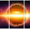 Exploding Planet in Space Modern Space Metal Wall Art 36x28 3 Panels