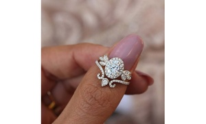 Women's Unique Oval Moissanite Diamond Halo Vine Floral Paired Ring Size 6-10