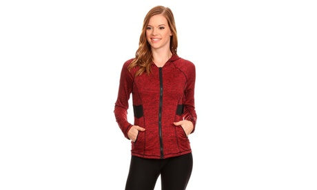 Women's Active Wear Zip Up Jacket With Hoodie 1e26a425-9887-4e39-8cad-64bd03a97b71