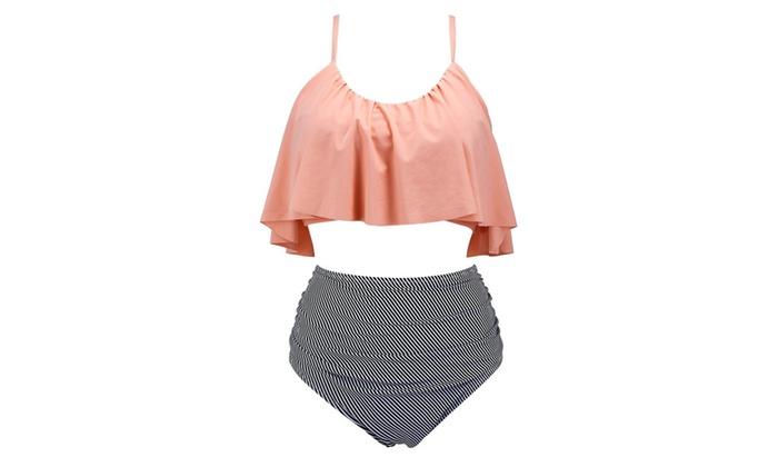 High Waisted Swimsuit for Women, Falbala Flounced Bikini