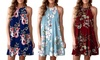 Women Summer Digital Printed Sleeveless Flower Dress Suspender Skirt