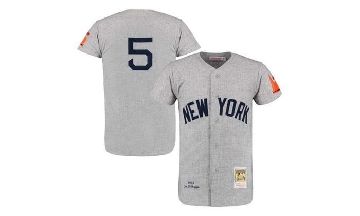 ff87945ba Mens New York Yankees Joe DiMaggio Gray Throwback Jersey