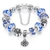 Blue Genuine Murano Glass And Crystal charm Bracelet