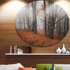 Large Fall Trees with Fallen Leaves' Landscape Oversized Circle Wall Art