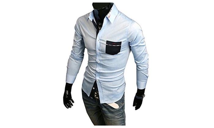 Digormers Men Autumn Plaid Turn Down Collar Slim Fit Casual Bottoming Shirts M Blue - Blue / US M(As...