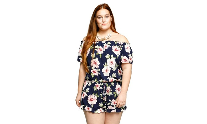 9050b7fffe30 ... Shoulder Sexy Floral Short Romper Jumpsuit. Xehar Women s Plus Size Off  S..