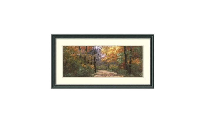 """Groupon Goods: Framed Art Print 'Autumn Road Panel' by Diane Romanello: Outer Size 26 x 14"""""""