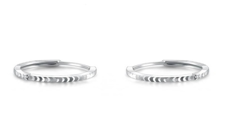 14k White Gold Classic Faceted Hoop Earrings