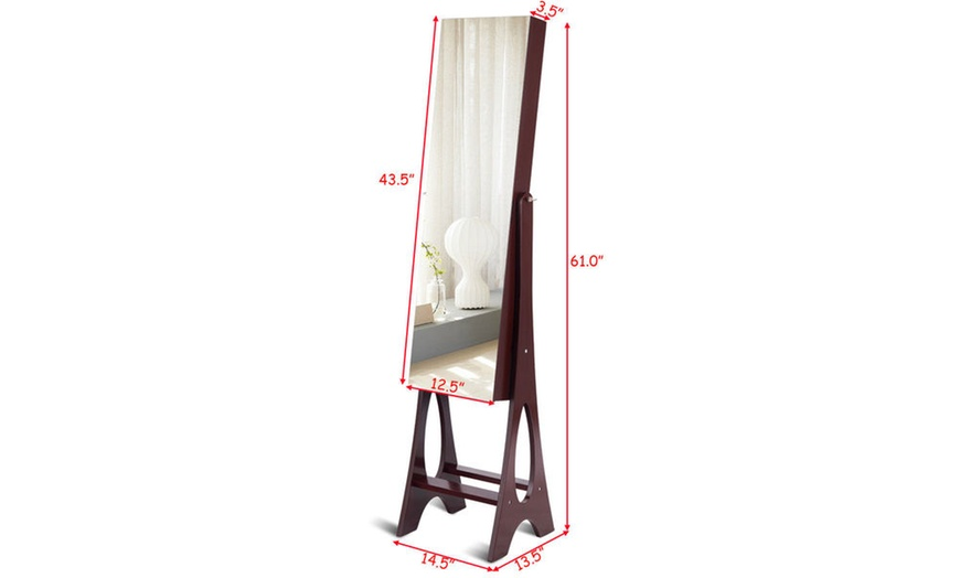 LED Jewelry Cabinet Armoire w// Bevel Edge Mirror Organizer Mirrored Standing New