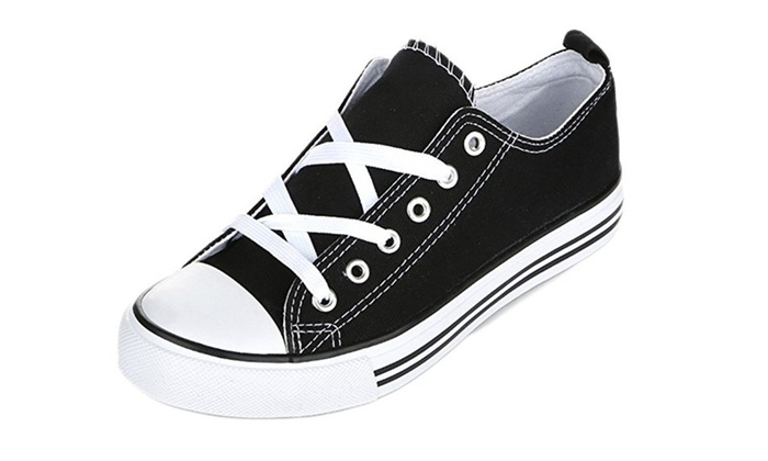 Shop Pretty Girl: Women's Casual Canvas Shoes Solid Colors Low Top Lace Up Flat Fashion