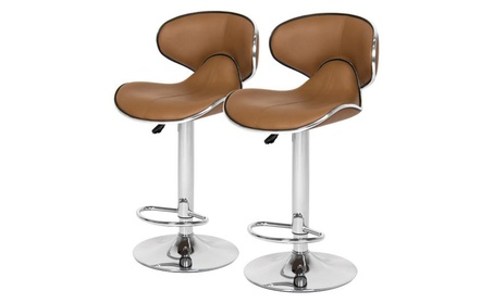 Home Furniture Adjustable Airlift Set Of 2 Leather Barstools, Brown 5211531f-fa73-4a03-ba84-96e0d390e53d