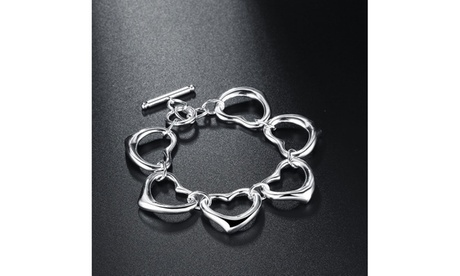 Multi Six Heart Pendants Toggle Clasp Silver Bracelet 0470fe71-ef5d-4046-b7a9-59e0da3e21e6