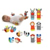 2pcs Soft Baby Toy Wrist Strap Socks Cartoon Rattle with Ring Bell
