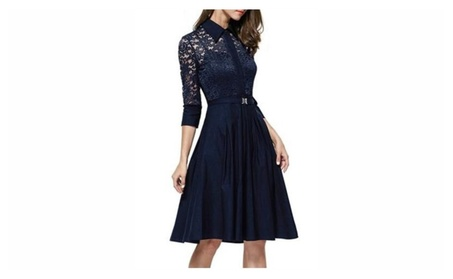 Women's Vintage Sleeve Black Lace Flare A-line Dress 74305fa7-768d-4362-a241-de5e442dba92