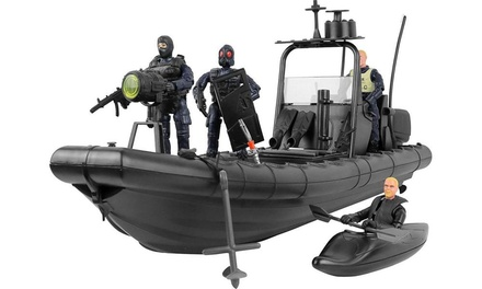 Click N Play Military Elite SWAT Unit Dinghy Boat 25 Piece Play Set